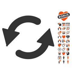 refresh ccw icon with love bonus vector image vector image