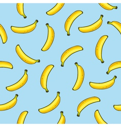 Seamless pattern of bananas on blue background vector