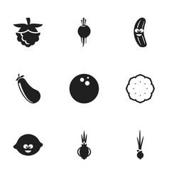 set of 9 editable vegetable icons includes vector image