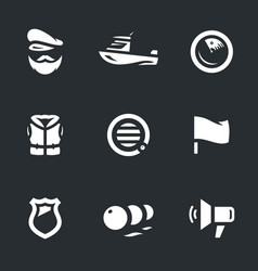 set of coast guard boat icons vector image vector image