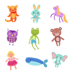 Set of cute colorful soft plush animal toys vector
