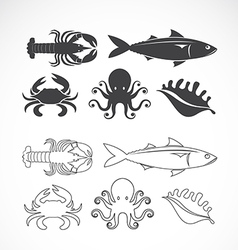 Set of seafood symbols vector