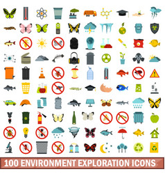 100 environment exploration icons set flat style vector