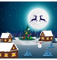 Night christmas forest landscape the tree vector