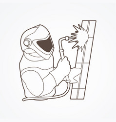 Welder working a man welding steel industry vector