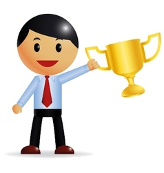 Corporate guy wins a trophy vector