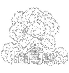 Snow-covered small hut vector