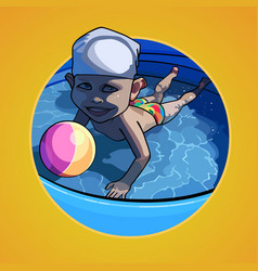 Cartoon child swimming in the pool with a ball vector