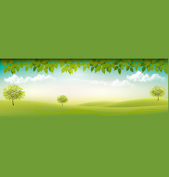 Summer nature background with green landscape vector
