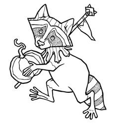 Raccoon in jester costume carries a pumpkin vector