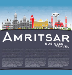 Amritsar skyline with gray buildings blue sky and vector