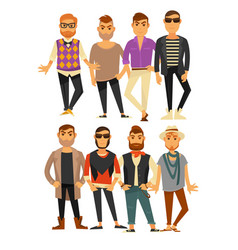 Men fashion models in different casual clothes vector