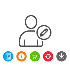 Edit user line icon profile avatar sign vector