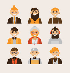 set with male hipster avatars smiling and vector image