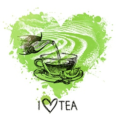 Tea background with splash watercolor heart vector