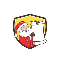 Santa claus paper scroll pointing shield cartoon vector