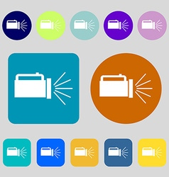 Flashlight icon sign 12 colored buttons flat vector