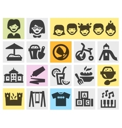 Preschool kindergarten set black icons signs and vector