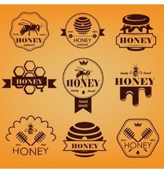 Honey emblems and labels set vector