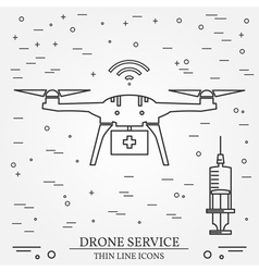 Drone service drone medical service thin line icon vector