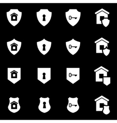 White home security icon set vector