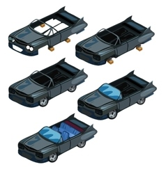 Assembling black cabriolet from parts car vector image