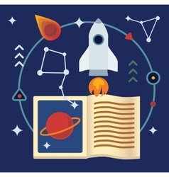 Astronomy flat with book rocket vector