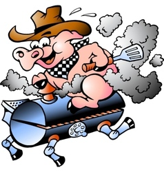 BBQ Pig riding on a grill barrel vector image vector image