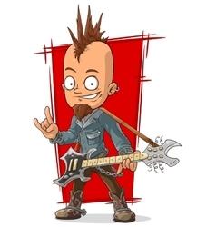 Cartoon cool punk rock musician with guitar vector image vector image