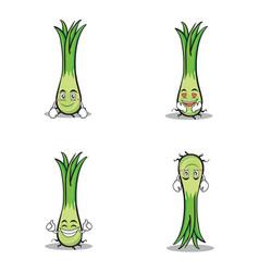 character of leek cartoon set vector image vector image