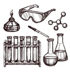 Chemistry tools hand drawn set vector