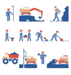 Earthwork and Road Construction Icons vector image vector image