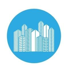 Emblem buildings and city scene icon image vector