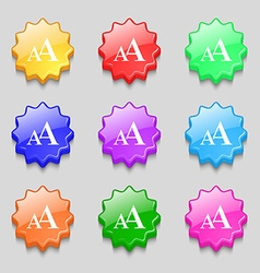 Enlarge font aa icon sign symbols on nine wavy vector