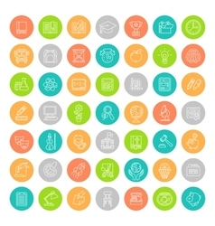 Flat Line Colorful Round School Subjects Education vector image vector image