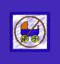 Flat shading style icon strollers not allowed vector