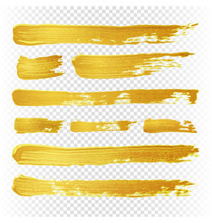Gold yellow paint textured abstract brushes vector
