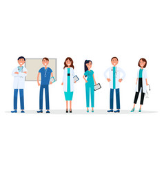 group of doctors in uniform standing and smiling vector image vector image