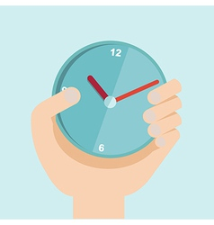 hand with clock in flat design For time vector image