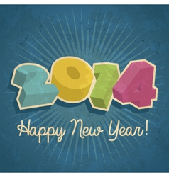 Happy Retro New Year 2014 vector image vector image