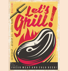 lets grill retro poster design vector image vector image