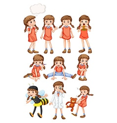 Little girl doing different activities vector
