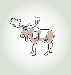 Moose in minimal line style vector