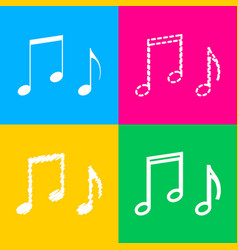 music notes sign four styles of icon on four vector image