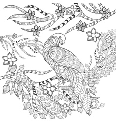 Parrot in fantasy flowers vector image vector image