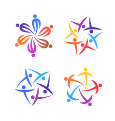 people creative logo set community team family vector image