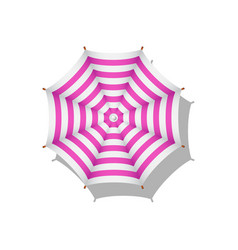 Pink and white striped beach umbrella vector