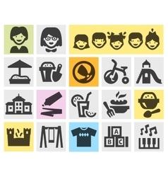 preschool kindergarten set black icons signs and vector image