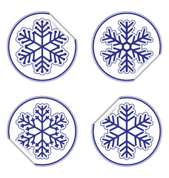 Snowflakes stickers vector image vector image