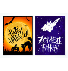 two hand drawn halloween greeting card vector image vector image